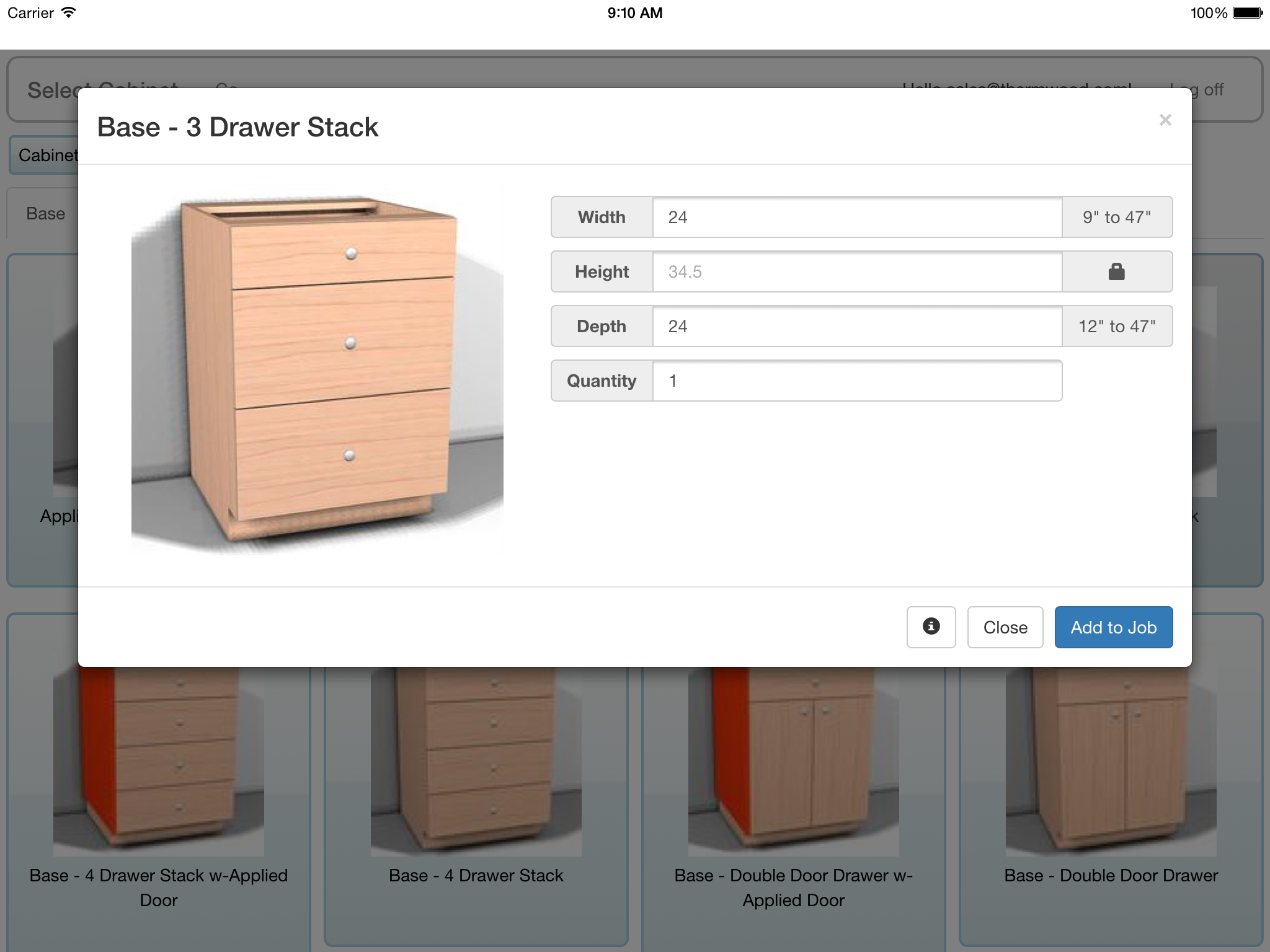 Thermwood CNC Mobile App - Resize and Choose Quantity