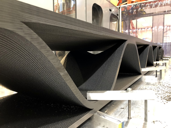 Internal 3D Printed support structure in a 18 foot hellicopter blade mold on a Thermwood LSAM
